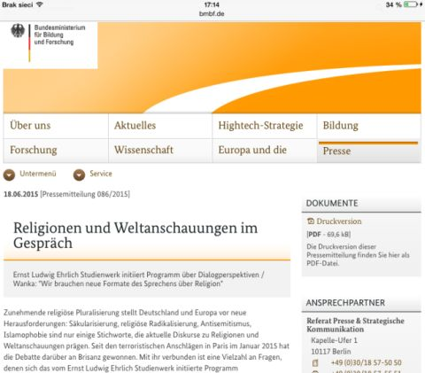Webseite der Bundesministerium für Bildung und Forschung
